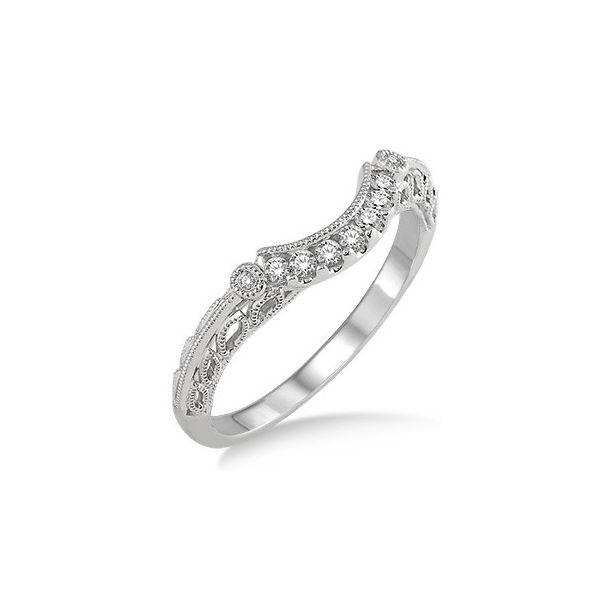 1/10 Ctw Round Cut Diamond Wedding Band in 14K White Gold by ido Collection