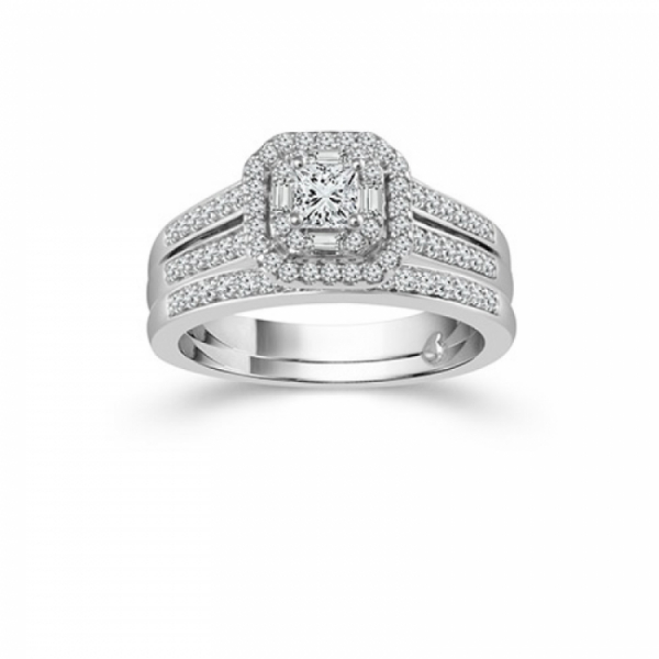 3/4ctw Wedding Set From the True Promise Bridal Collection With Princess Cut Center by True Promise