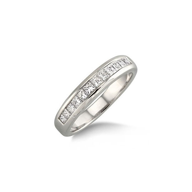 1 Ctw Princess Cut Diamond Wedding Band in 14K White Gold by ido Collection