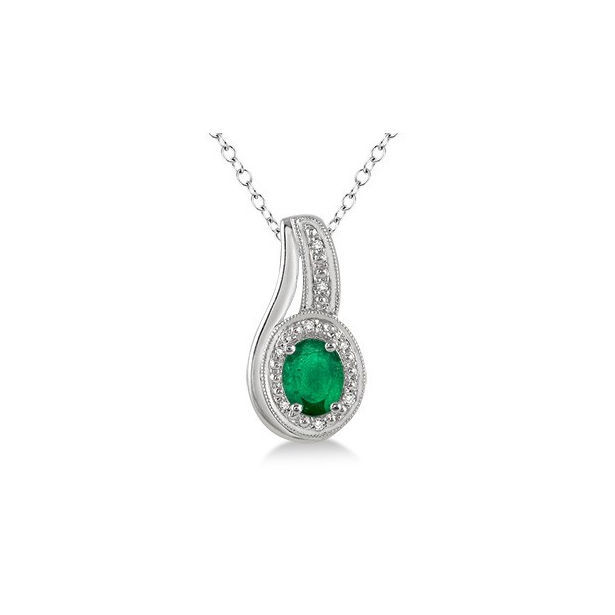 6x4 MM Oval Cut Emerald and 1/50 Ctw Round Cut Diamond Pendant in Sterling Silver with Chain by Daphne Diamond