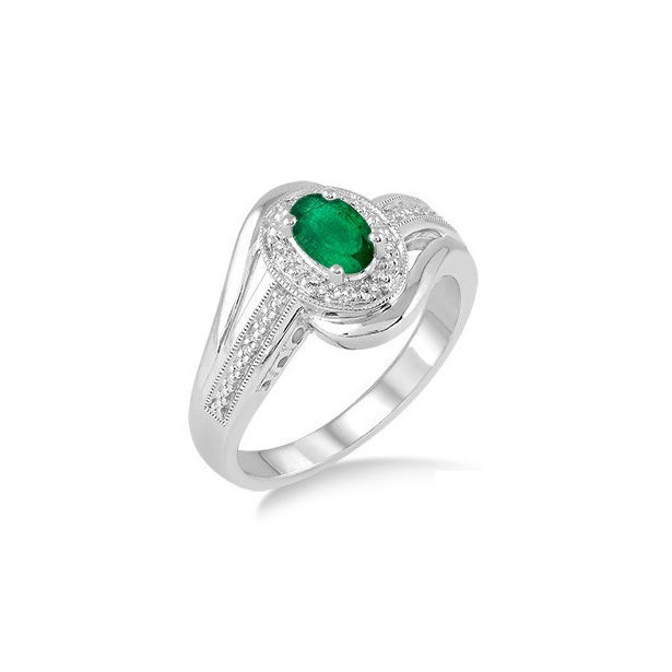 6x4 MM Oval Cut Emerald and 1/50 Ctw Round Cut Diamond Ring in Sterling Silver by Daphne Diamond