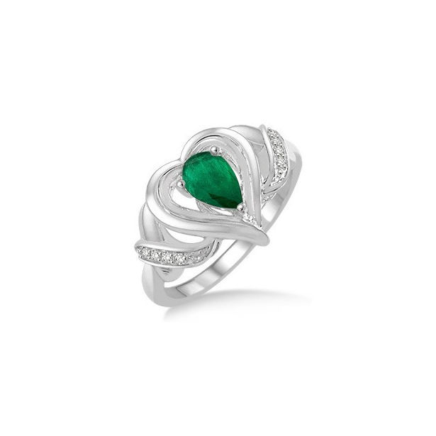 6x4 MM Pear Shape Emerald and 1/50 Ctw Round Cut Diamond Ring in Sterling Silver by Daphne Diamond