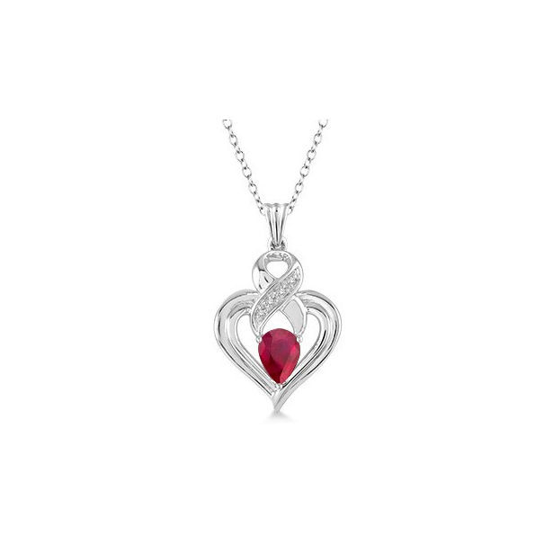 6x4 mm Pear Shape Ruby and 1/50 Ctw Single Cut Diamond Pendant in Sterling Silver with Chain by Daphne Diamond