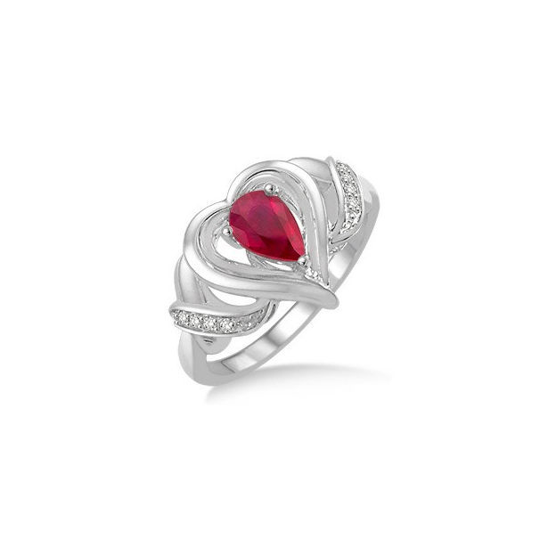 6x4 MM Pear Shape Ruby and 1/50 Ctw Round Cut Diamond Ring in Sterling Silver by Daphne Diamond