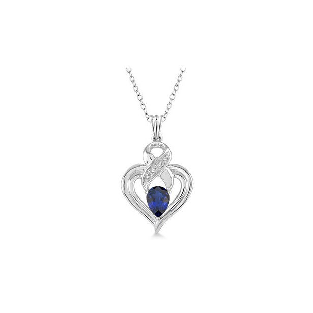6x4 mm Pear Shape Sapphire and 1/50 Ctw Single Cut Diamond Pendant in Sterling Silver with Chain by Daphne Diamond