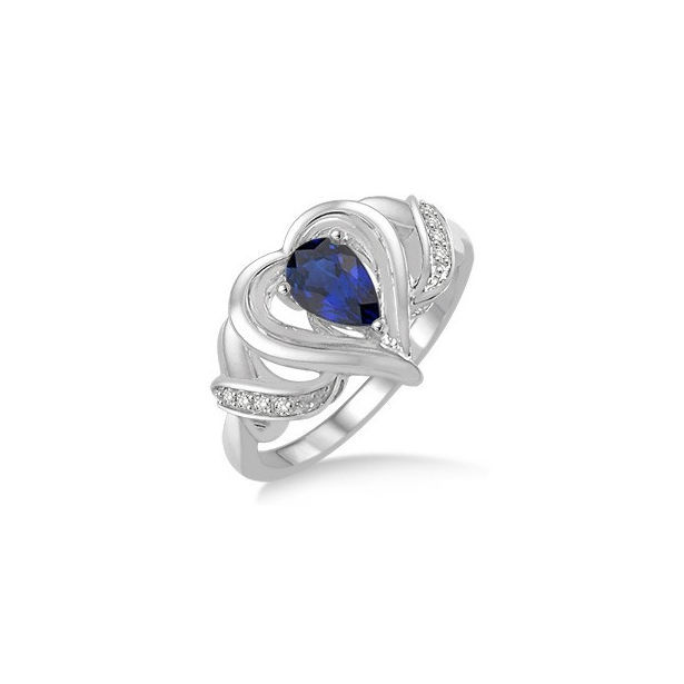 6x4 MM Pear Shape Sapphire and 1/50 Ctw Round Cut Diamond Ring in Sterling Silver by Daphne Diamond