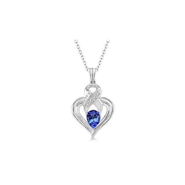 6x4 mm Pear Shape Tanzanite and 1/50 Ctw Single Cut Diamond Pendant in Sterling Silver with Chain by Daphne Diamond