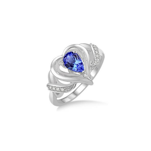 6x4 MM Pear Shape Tanzanite and 1/50 Ctw Round Cut Diamond Ring in Sterling Silver by Daphne Diamond