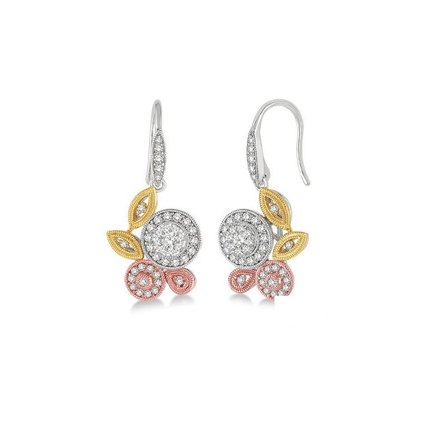 3/4 Ctw Diamond Lovebright Earrings in 14K Tri Color Gold by Lovebright
