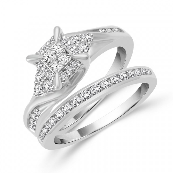 5/8 Carat Diamond 2 Piece Wedding Set From The Fairytale Collection by Fairytale