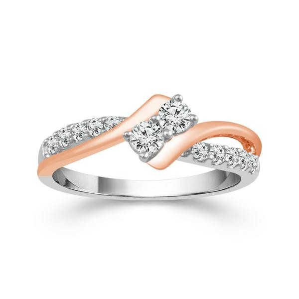 1/2 Carat Diamond 14K White and Rose Gold Ring From The 2BeLoved Collection by 2beLoved