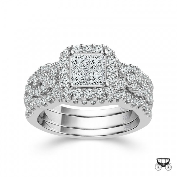 1 3/8 Carat Diamond 3 Piece Wedding Set From The Fairytale Collection by Fairytale