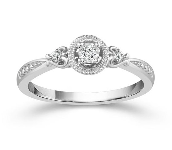 0.06 Carat Diamond Silver White Silver Ring From The True Promise Collection by True Promise