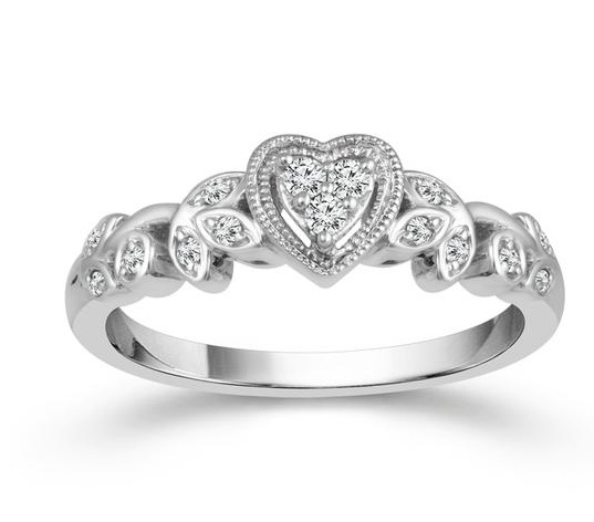 0.14 Carat Diamond 10 Karat White Gold Ring From The True Promise Collection by True Promise