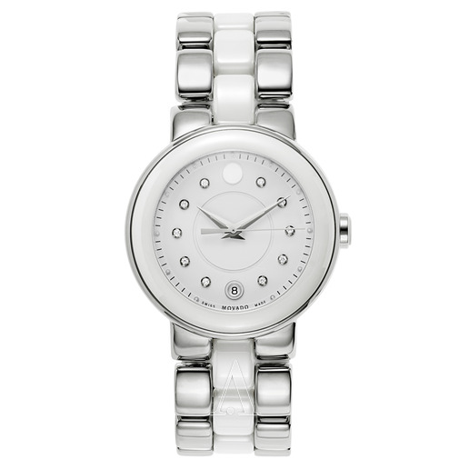 Movado Cerena Steel and White Ceramic Ladies Watch  by Movado
