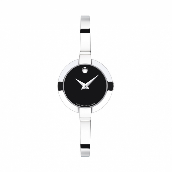 Movado Bela Black Dial Stainless Steel Bangle Ladies Watch by Movado