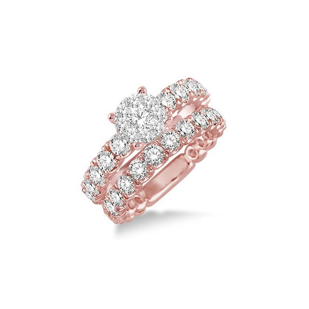 1 3/4 Ctw Diamond Lovebright Wedding Set with 1 Ctw Engagement Ring and 3/4 Ctw Wedding Band in 14K Pink Gold by Lovebright