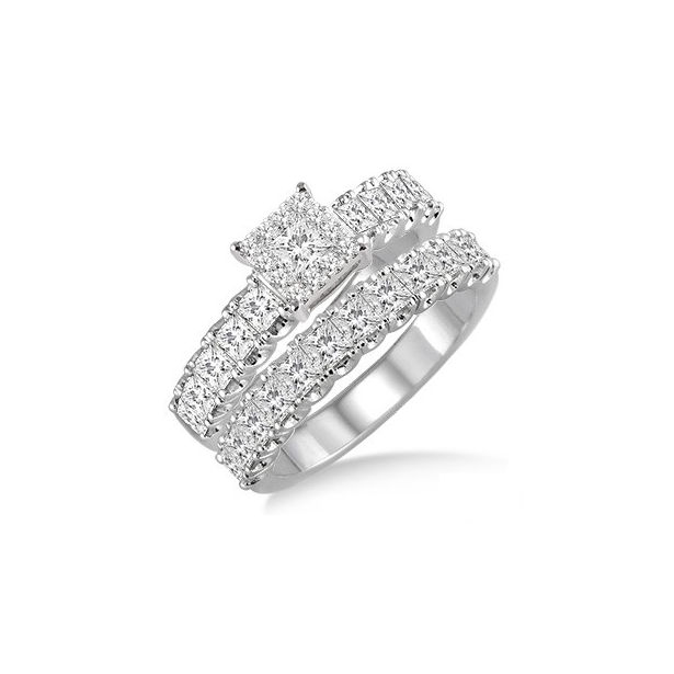 1 3/4 Ctw Diamond Lovebright Wedding Set with 1 Ctw Engagement Ring and 3/4 Ctw Wedding Band in 14K White Gold by Lovebright