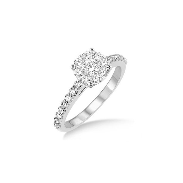1/2 Ctw Diamond Lovebright Engagement Ring in 14K White Gold by Lovebright