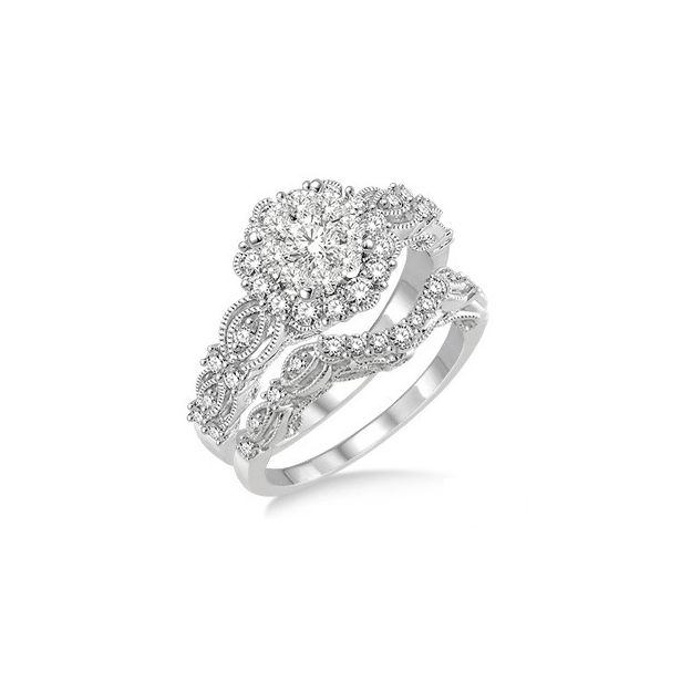 7/8 Ctw Diamond Lovebright Wedding Set with 3/4 Ctw Engagement Ring and 1/5 Ctw Wedding Band in 14K White Gold by Lovebright