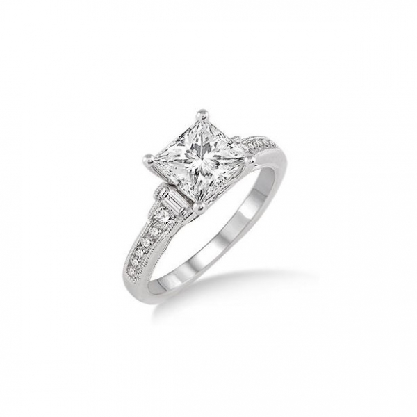 7/8 Ctw Diamond Engagement Ring with 1/2 Ct Princess Cut Center Stone in 14K White Gold by ido Collection