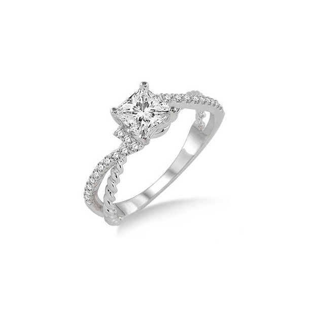 3/4 Ctw Diamond Engagement Ring with 1/2 Ct Princess Cut Center Stone in 14K White Gold by ido Collection
