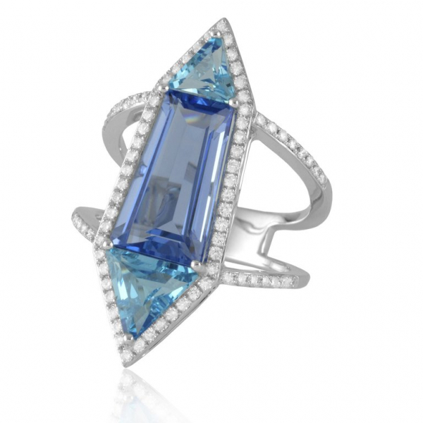 14 Karat White Gold Blue Topaz, Blue Hydro Quartz and Diamond Ring by Sophia By Design
