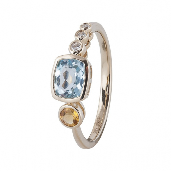 Sao Paulo Blue Topaz Ring - 14K Yellow Gold by Sophia By Design