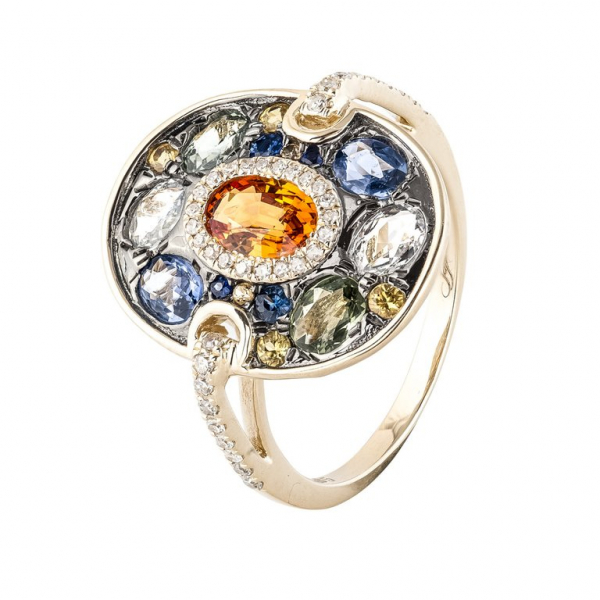 Sao Paulo Orange Sapphire Diamond Ring - 14K Yellow Gold by Sophia By Design