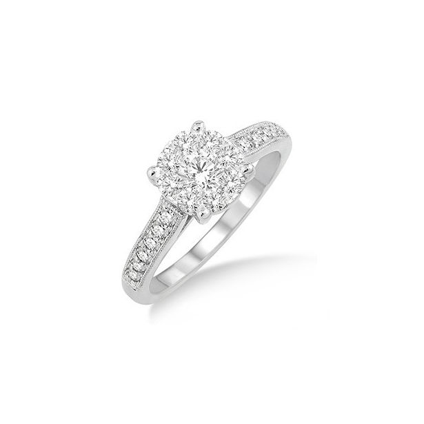 3/4 Ctw Lovebright Round Cut Diamond Engagement Ring in 14K White Gold by Lovebright