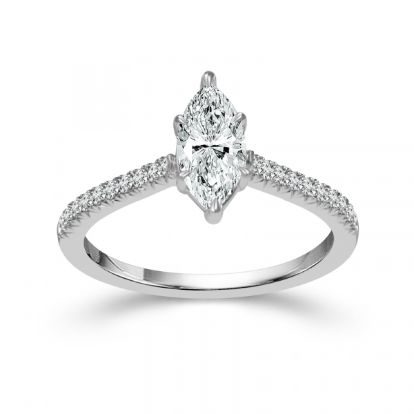 14k White Gold 1ctw Marquise Diamond Engagement Ring  by DREAM