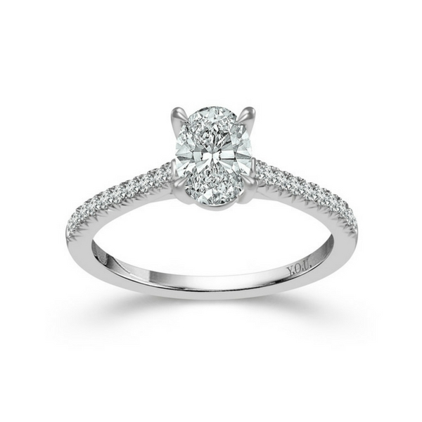 14K WHITE GOLD 1 CTW OVAL SHAPED DIAMOND ENGAGEMENT RING by DREAM