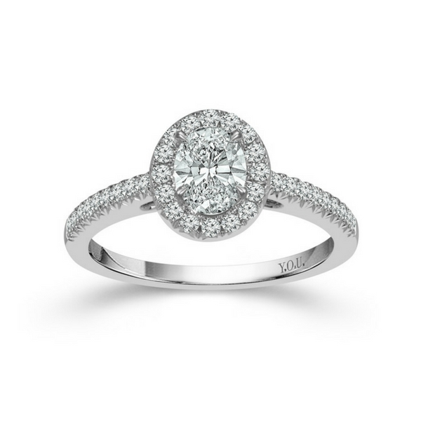 14K WHITE GOLD .75CTW OVAL SHAPED HALO DIAMOND ENGAGEMENT RING by DREAM