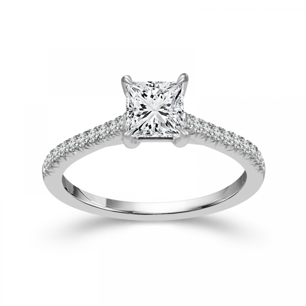 14k White Gold 1ctw Princess Cut Diamond Engagement Ring  by DREAM