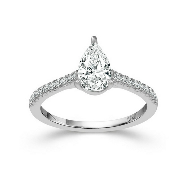 14K WHITE GOLD 1CTW PEAR SHAPED DIAMOND ENGAGEMENT RING by DREAM