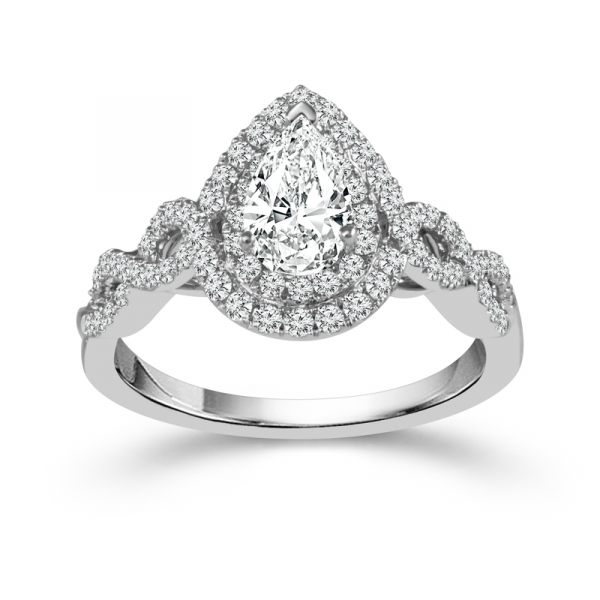 14k White Gold 1 1/4ctw Pear Shaped Diamond Engagement Ring by DREAM