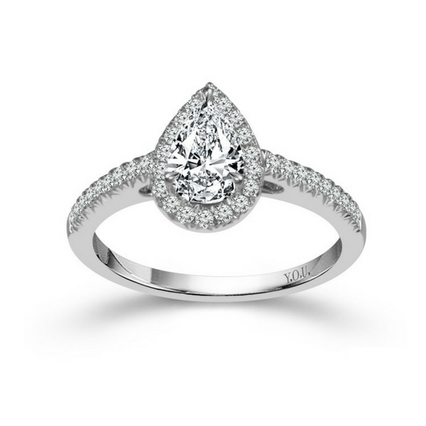 14K WHITE GOLD .75CTW PEAR SHAPED HALO DIAMOND ENGAGEMENT RING by DREAM