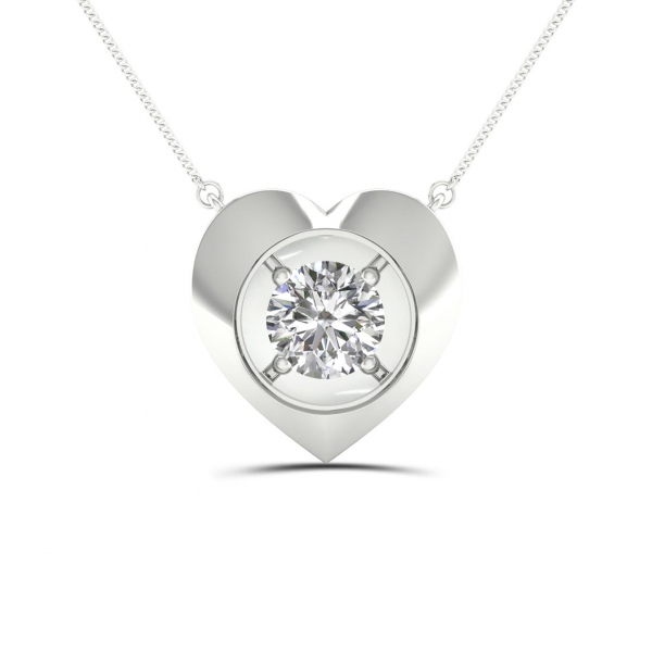 10K WHITE GOLD .08ctw DIAMOND HEART PENDANT by Magnificence