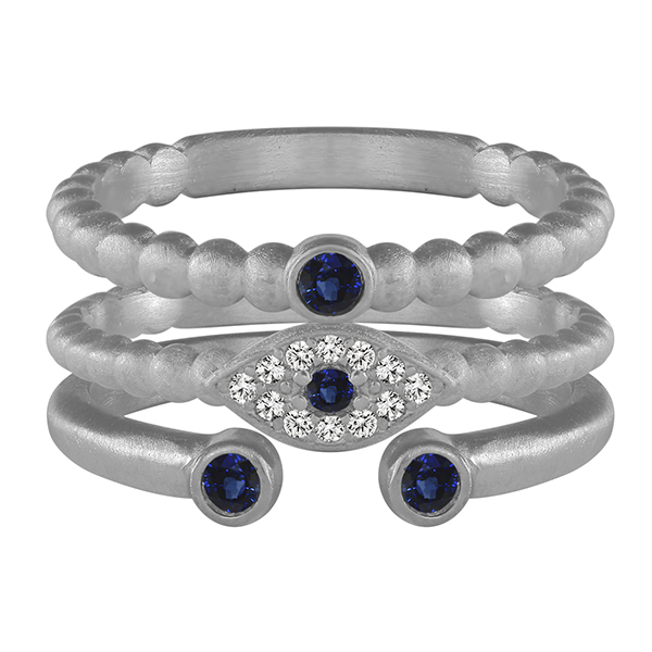 Stone Evil Eye Ring Stack by Slate and Tell