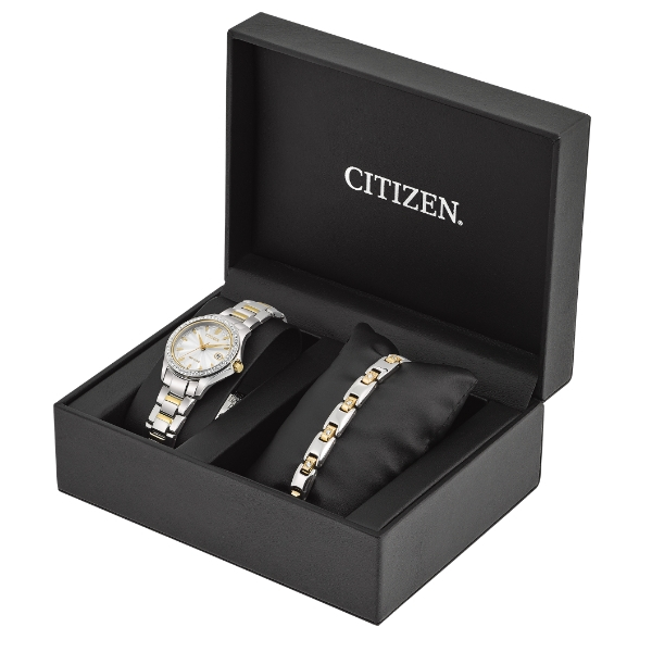 LADIES SILHOUETTE WATCH & BRACELET GIFT SET by Citizen Watch