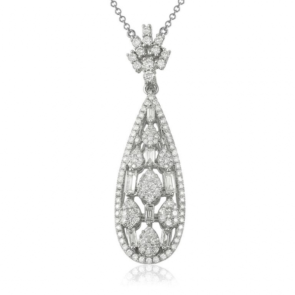 Paris Diamond Pendant Necklace - 18K White Gold by Sophia By Design