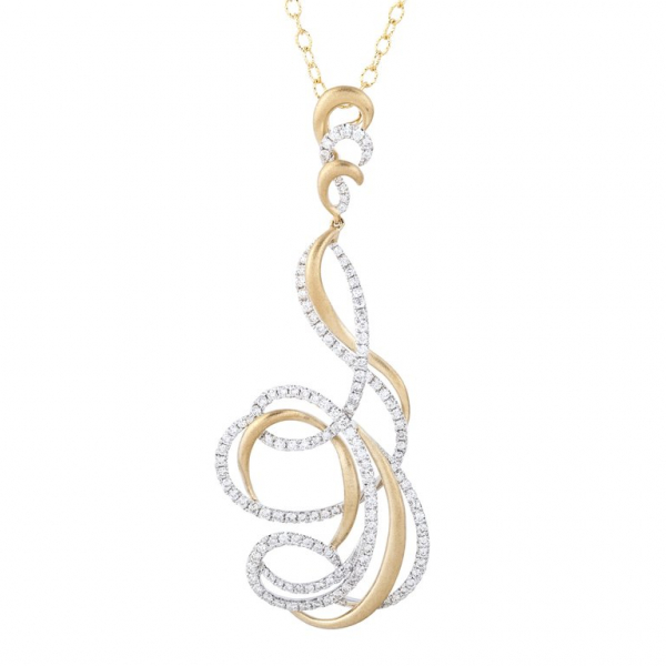 Florence Diamond Pendant Necklace - 18K Yellow & White Gold by Sophia By Design