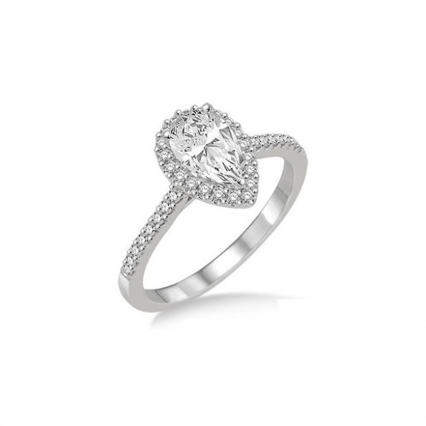 5/8 Ctw Diamond Engagement Ring with 1/3 Ct Pear Shaped Center stone in 14K White Gold by ido Collection