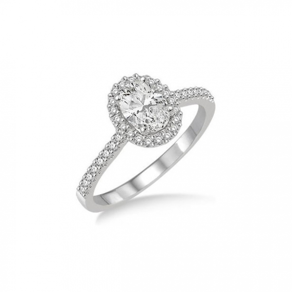 5/8 Ctw Diamond Engagement Ring with 1/3 Ct Oval Shaped Center stone in 14K White Gold by ido Collection