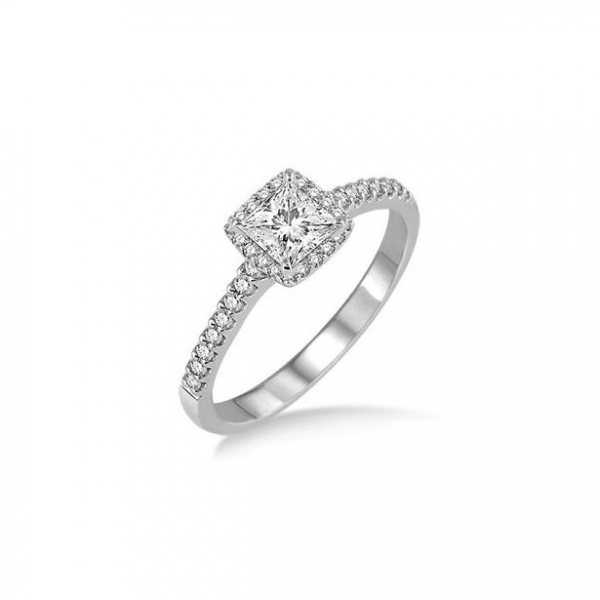 3/8 Ctw Diamond Engagement Ring with 1/5 Ct Princess Cut Center stone in 14K White Gold by ido Collection
