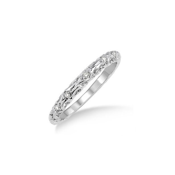 1/20 Ctw Round Cut Diamond Wedding Band in 14K White Gold by ido Collection