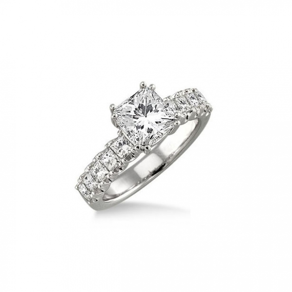 1 Ctw Princess Cut Diamond Semi-Mount Ring in 14K White Gold by ido Collection