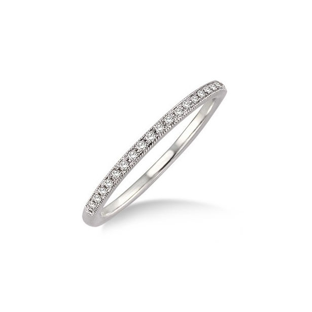 1/10 Ctw Round Cut Diamond Matching Wedding Band in 14K White Gold by ido Collection