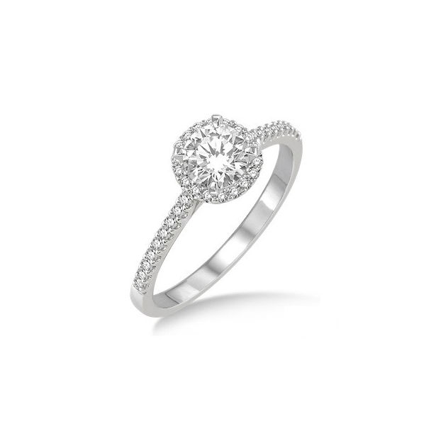 1/2 Ctw Diamond Engagement Ring with 1/4 Ct Round Cut Center Stone in 14K White Gold by ido Collection