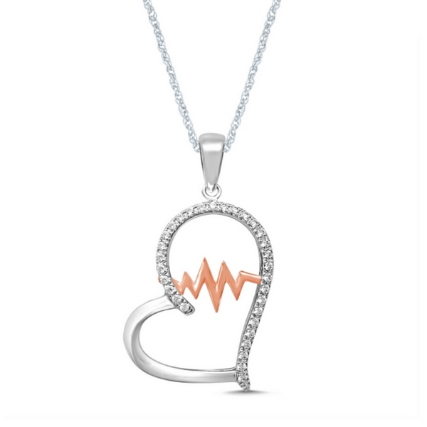 STERLING SILVER 1/5 CTW GLITTERING BEATS DIAMOND HEART FASHION PENDANT by Rock N